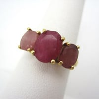 Vintage Pink Quartz Ring - Gold Plated