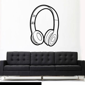 Wall Decal Vinyl Sticker Decals Headphones Music Notes Beats Audio Art Outlines (z2658)