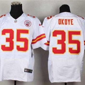 DCCK8X2 Nike Kansas City Chiefs #35 Christian Okoye White NFL Elite Jersey