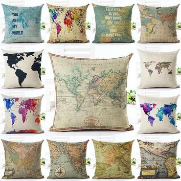 Vintage World Map Cushion Cover Cotton Linen Fashion Letters Pattern Cushion Cover Throw Pillow Case Home Decor High Quality Alm