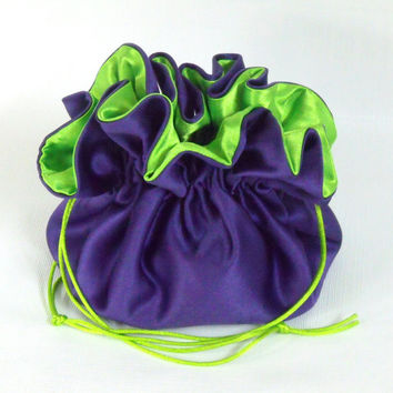 Wedding Bag Satin Bridal Money Purse Royal Purple with Lime Green Lining No Pockets