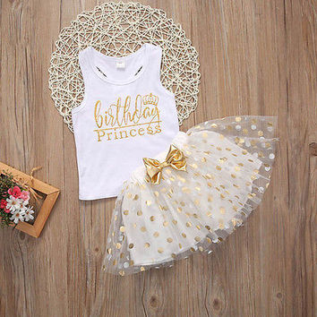 """Adorable Little Girls """"Birthday Princess"""" White Gold and Tutu Skirt with Gold Polkadots 2Pc Set 2T to 6Yr"""