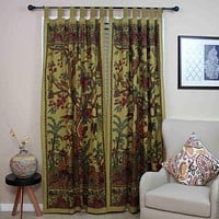 Clearance Handmade 100% Cotton Tree of Life Tab Top Curtain Drape Door Panel 44x88 Gold