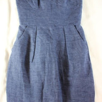 """~~~ SUMMER PARTY ~~~ NWT $295 MILLY BLUE """"CHAMBRAY DENIM"""" STRAPLESS DRESS ~~ 0"""