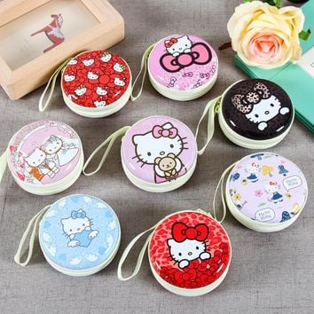 1pcs Cute Hello Kitty Cat Coin Purse Wallet Earphone Wire Storage Boxes Data Line Container Organizer Storage Bag Gift 7 * 3cm