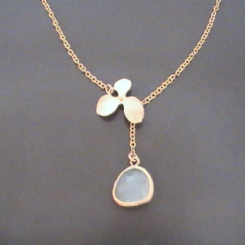 Gold Orchid Flower with Pale Blue Drop Lariat Necklace, Flower Charm, Glass, Bestfriends Gift, Everyday Jewelry by Crystalhadow on etsy