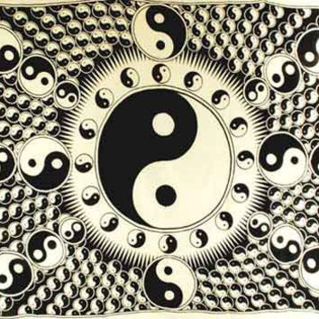 """White and Black Yin Yang Tapestry 72"""" x 108"""""""
