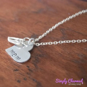 Angel Wings-Mom Heart Hand Stamped Keychain/Necklace
