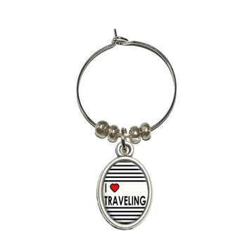 I Love Heart Traveling Wine Glass Charm