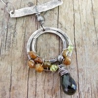 Quartz and Tourmaline Circle Pendant, Neutral Earthy, Sterling Silver
