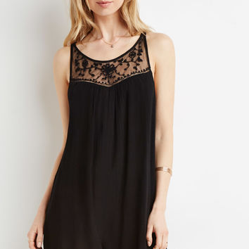 Embroidered Crepe Romper