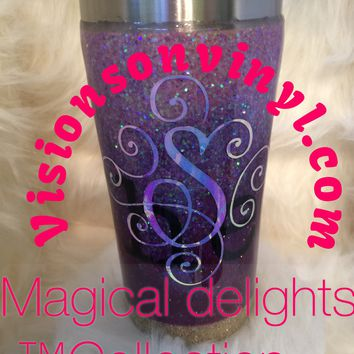 Ombre Glitter Tumbler With Fancy Monogram and FDA Approved Epoxy Finish (20oz Tumbler Displayed)