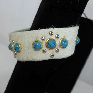 Turquoise Western White Hair Hide Cuff