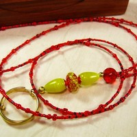 Handmade Red Beaded ID Lanyard with Lemon Yellow Accent Glass Beads