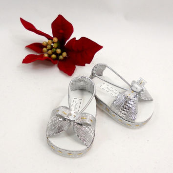 """Metallic Gold or Silver Bow Sandals for 18"""" American Girl Dolls, Christmast and New Year Holidays"""