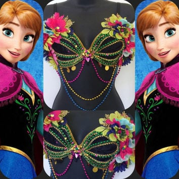 "Princess Anna ""Frozen"" Mermaid Seashell Bra: rave bra, halloween, costume, edm, festival, disney, edc, plur, elsa, let it go, winter"