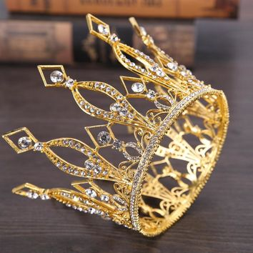 Cool Gold Color Queen King Tiara Crown Baroque Retro Tiaras and Crowns Pageant Crown Princess Prom Hair Jewelry accessoriesAT_93_12