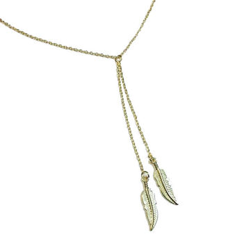 Double Leaf Modern Pendant Necklace in Gold