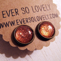 gold dust woman earrings handmade rusty red brown sparkly by eversolovely