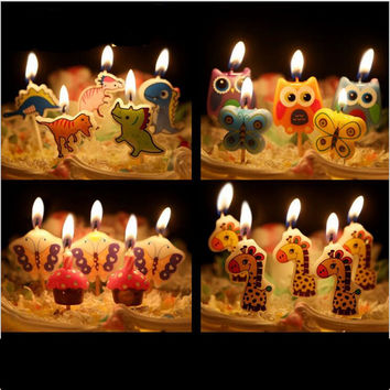 5 pcs/set Cartoon Kid's Birthday Cake/Cupcake Toppers Candle Birthday Cake Candles Party Supplies wedding home Decorations-8z