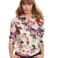 Creme Floral Maywell Womens Lightweight Cotton Shirt  | Joules UK