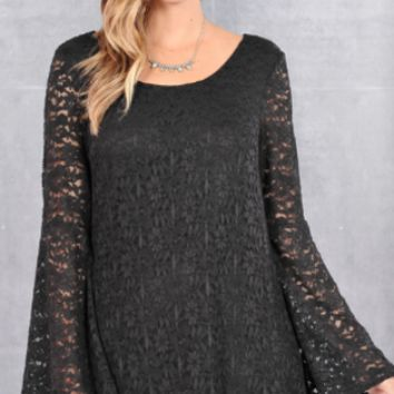 Midnight Imagination Bell Sleeve Lace Dress-Black