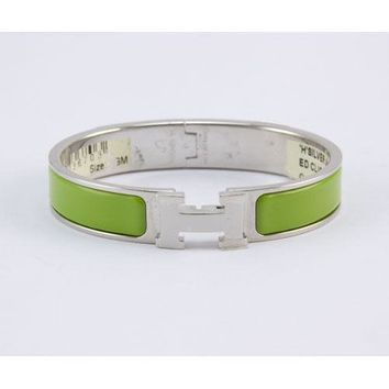 HERMES Green palladium narrow H clic clac bangle bracelet