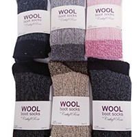 6 Pairs Women Cable Knit Winter Wool Thermal Boot Socks 9-11