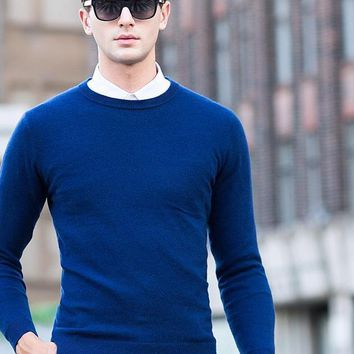 Men's Smart Casual Sweaters O-Neck Knitwear Cashmere Pullovers Men's Cashmere Wool Pullover