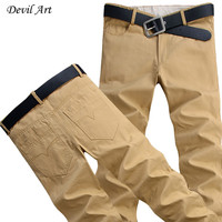 2016 New Men's Fashion Casual Pants Washed Cotton Business Trousers 9 Colors size:28-44 Large Size Free Shipping K046