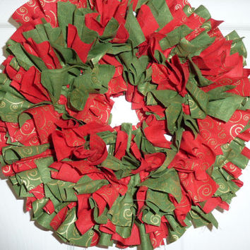 Small Rag Wreath Christmas Red Green Fabric 12""