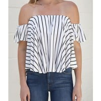 STRIPE OFF SHOULDER TOP - WHITE - Top - Shop