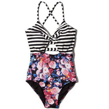 Striped Floral Print One Piece Swimsuit chest holes stripe