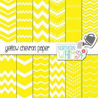 Yellow Chevron Digital Paper Pack – yellow and white seamless chevron paper - seamless patterns for scrapbooking and graphic design – CU OK