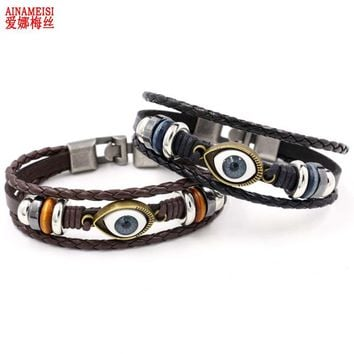 AINAMEISI Punk Design Turkish Evil Eye Bracelets For Women Men Wristband Female Leather Bracelet Synthetic Stone Vintage Jewelry