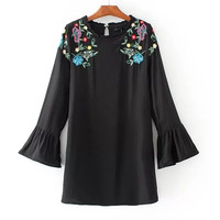 Black Embroidery Lotus Leaf Short Casual Dress