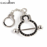 3 Color Rhinestone Handcuffs Paved Nipple Shield Piercing Rings 1Pair Body Piercing Nipple Piercing Body Jewelry