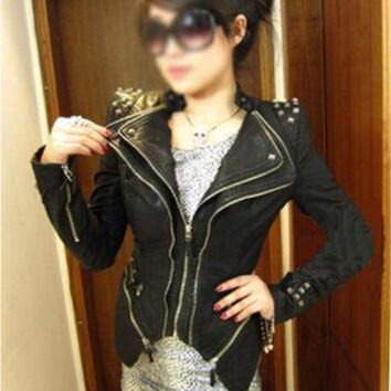 Vintage Punk Grils Cool Rivet Studded Shoulder Motorcycle PU Leather Coat Jacket