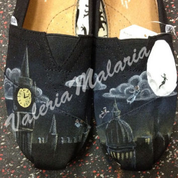 Story of Peter Pan TOMS shoes by ValeriaMalariaArt on Etsy