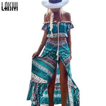 LAISIYI Bohemian Two Piece Set Off Shoulder Sexy Crop Top High Waist Long Skirt Vintage Boho Women Suits Top and Skirt ASSU20033