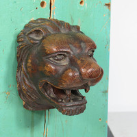 Old Hand Carved Wood Lion Head . Salvage Decoration . Beautiful Patina . Vintage