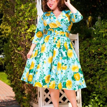 Birdie Dress with Three-Quarter Sleeves in Baby Blue and Yellow Floral Print - plus size