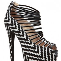 Chevron Ziggy Printed Heels @ Cicihot Heel Shoes online store sales:Stiletto Heel Shoes,High Heel Pumps,Womens High Heel Shoes,Prom Shoes,Summer Shoes,Spring Shoes,Spool Heel,Womens Dress Shoes