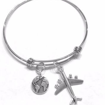 Bangle Charm Bracelet Earth Airplane World Globe Travel Gift Wife Girlfriend
