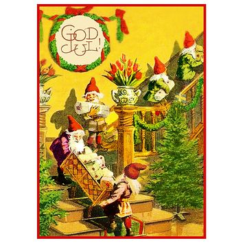 Elves Gnomes Decorate for Holidays Jenny Nystrom  Holiday Christmas Counted Cross Stitch Pattern