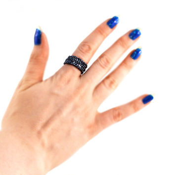 Gunmetal Black Ring in Beads