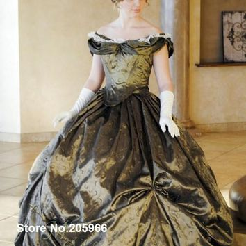 Custom Victorian Bridal Civil War Steampunk Ball Gown Dress in embroidered taffeta Ball Gown
