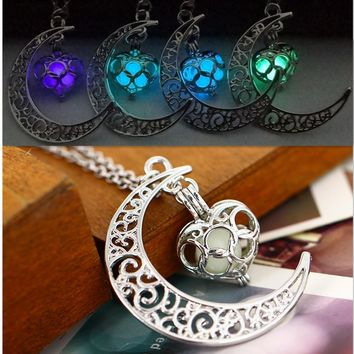 Necklace women moon love heart night jewelry Glow in the Dark Pendant with 18inch chain blue green purple necklace gifts
