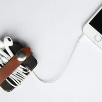 Wrap and Snap Leather Cable Keeper // Cord Organizer