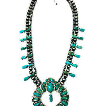 Huge Natural Turquoise Stone Squash Blossom Necklace